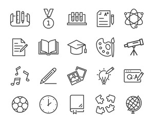 set of education icons, such as learning, training, question, book, knowledge, report