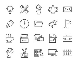 set of office icons, such as meeting room, document, coffee, paper, pen, laptop