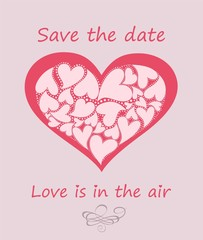 Greeting pastel card with heart shape with hearts for wedding invitation