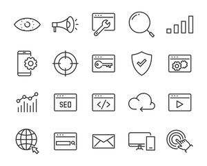 set of website icons, such as web, browser, network, seo, cloud
