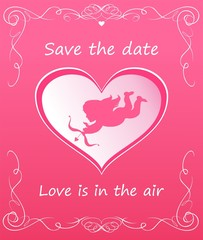 Greeting pink card with heart shape with cupid for wedding invitation