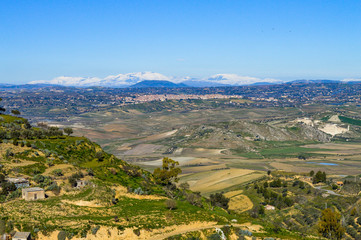 View from Mazzarino of a Beautiful Sicilian Scenery, Caltanissetta, Italy, Europe