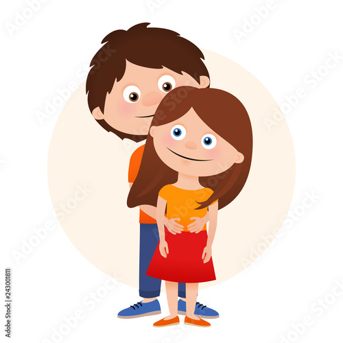 Romantic Hugging Couple Isolated On White Background Cartoon