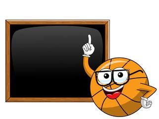 basketball ball cartoon funny character blackboard or chalkboard copyspace teacher isolated