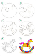Educational page for kids shows how to learn step by step to draw a toy rocking horse. Back to school. Developing children skills for drawing and coloring. Vector cartoon image.