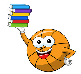 basketball ball cartoon funny character pile books isolated