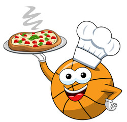 basketball ball cartoon funny character pizza cook serving isolated