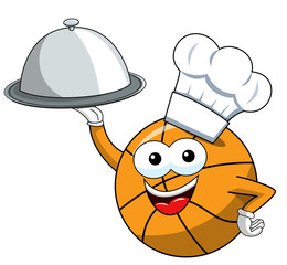 basketball ball cartoon funny character cook serving tray food isolated