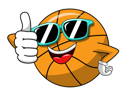 basketball ball cartoon funny character cool sunglasses thumb up like isolated