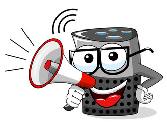 smart speaker cartoon funny character speaking megaphone isolated