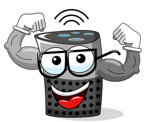 smart speaker cartoon funny character showing biceps isolated