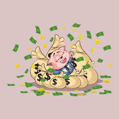 kitten in business suit lies happy on bags money
