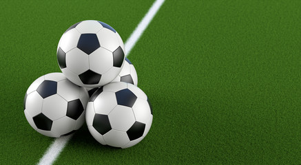 Soccer ball Pyramid on a soccer field - 3D Rendering
