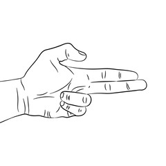 Hand circuit, outline making gun gesture. Vector illustration isolated on white background