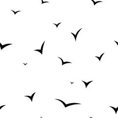 seamless texture of flying flock of birds