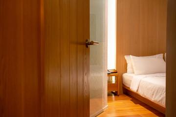 Bedroom door opened in the hotel