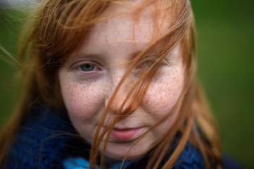 Emer Kenny, aged 9, poses for a photograph to celebrate 'Kiss a Ginger Day' on the 10-year anniversary of this anti-bullying day, in Dublin