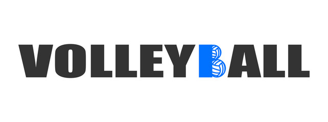 Text Volleyball logo with balls blue