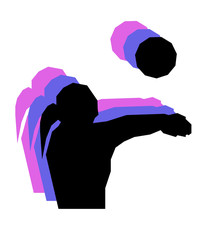 Volleyball player girl with ball low poly isolated