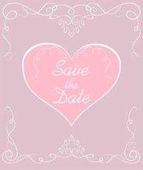 Wedding pastel invitation with vintage vignette and heart shape. Save the date