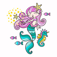 Little  cartoon mermaid with seahorse, fish and magic wand. For design posters, prints, etc. Vector