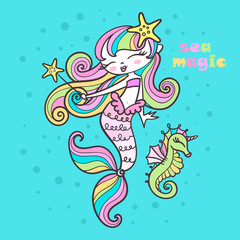 sea magic. Little mermaid with a magic wand and sea horse. For design prints, posters, etc. Vector