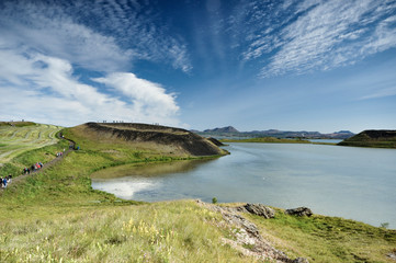 Myvatnsee mit Pseudokrater in Island