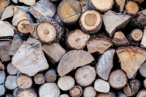 Getting Woodpile Ready For Winter >> Close Up Of Wood Piled Up In A Woodpile Ready For Winter Stock
