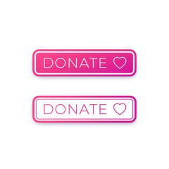 Donate button design for website, vector