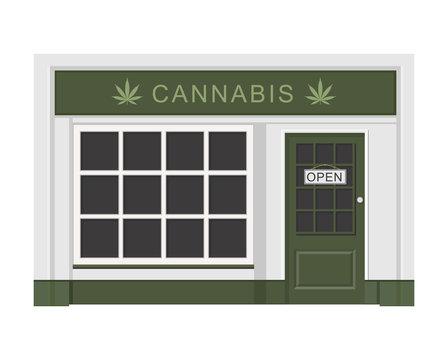 Cannabis store. Marijuana products. Marijuana Legalization. Isolated vector illustration on white background.