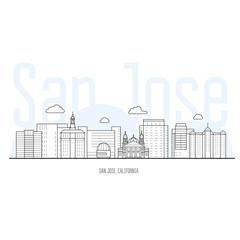 San Jose city skyline - cityscape and landmarks of San Jose, California