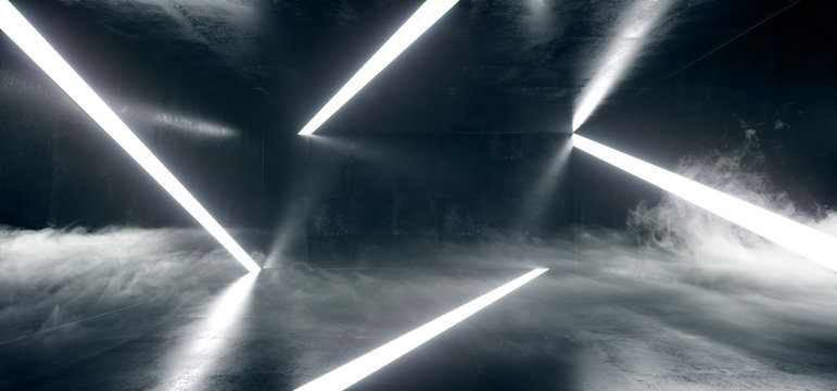Sci Fi Modern Minimalistic Abstract Shaped Neon Led Glowing White Lines In Smoke Fog Dark Room With Grunge Concrete Reflective Floor Walls 3D Rendering