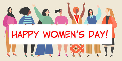 Vector illustration with a group of women holding a big banner with congratulations to the International Women's Day