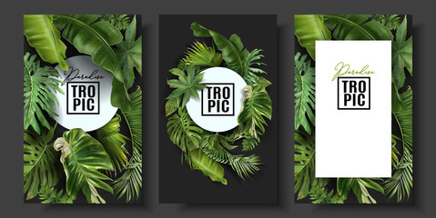 Vector banners set with green tropical leaves