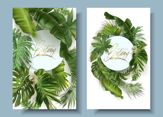 Vector round banners with green tropical leaves