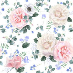 White and pink rose flower seamless pattern