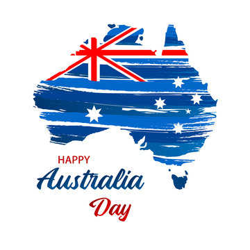 Happy Australia day. Map of Australia with flag. Vector illustration for Greeting card, poster and banner.