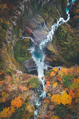 ドローン / 空撮 秋, 紅葉の日光 華厳の滝 Aerial View of Kegon Falls in Nikko, Japan