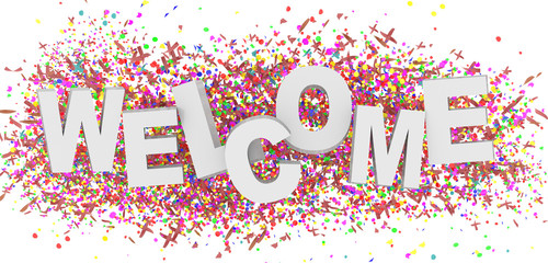 welcome party carnival word text colors - 3d rendering
