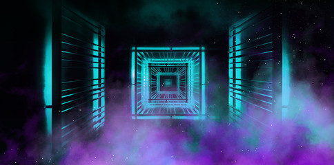Background wall with neon lines and rays. Background dark corridor with neon light. Abstract background with lines and glow. Metal construction, light cube, frame, neon smoke. 3D Rendering