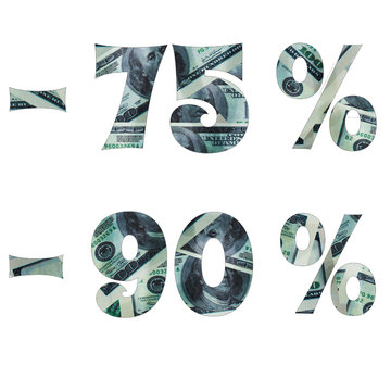 The inscription of the interest in the sale with the image of dollars inside. -75% -90%. text is isolated on white background. Image for project or design.