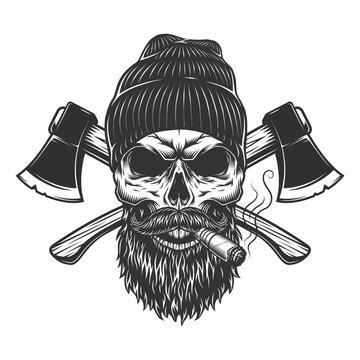 Vintage lumberjack skull in beanie hat