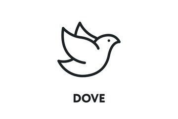 Dove Bird Pigeon. Freedom Concept. Vector Flat Line Stroke Icon.