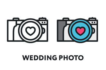 Wedding Photo Camera Heart Memories. Vector Flat Line Stroke Icon.