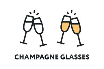 Champagne Glasses. Alcohol Drink. Celebration Concept. Vector Flat Line Stroke Icon.