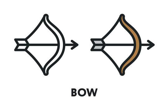 Bow Arrow Weapon Archer. Vector Flat Line Stroke Icon.