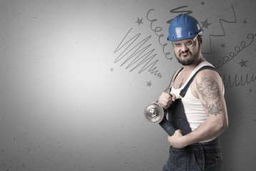 Handyman with tool in his hand and hand drawn lines above.