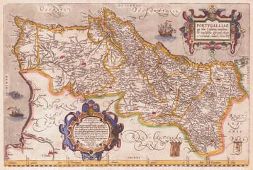 1579, Ortelius Map of Portugal, Porvgalliae, Abraham Ortelius, also Orthellius, 1527 – 1598, Flemish, Netherlandish cartographer and geographer
