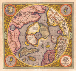 1606, Mercator Hondius Map of the Arctic, First Map of the North Pole