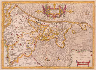1606, Mercator Map of Holland, The Netherlands